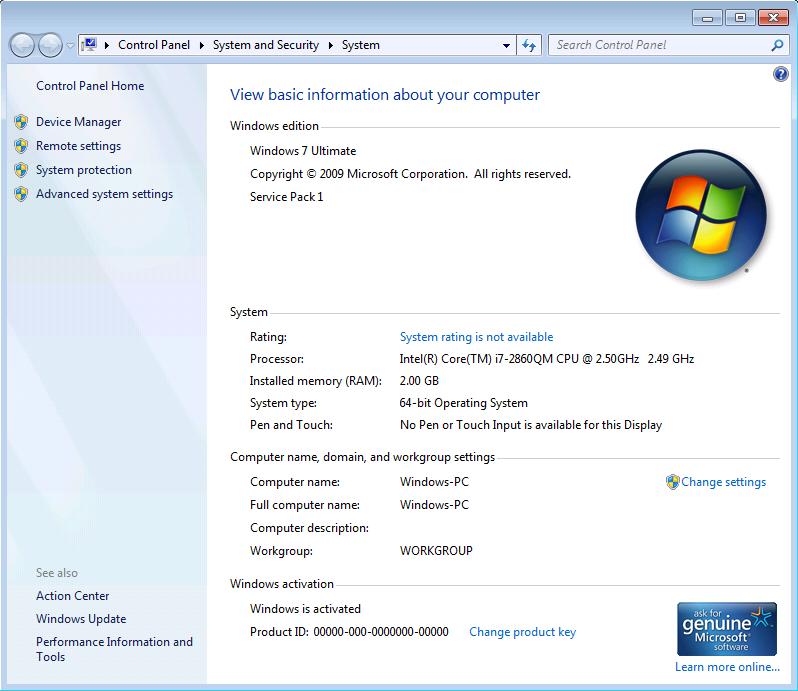 bendriniai windows 8, 7 nustatymai