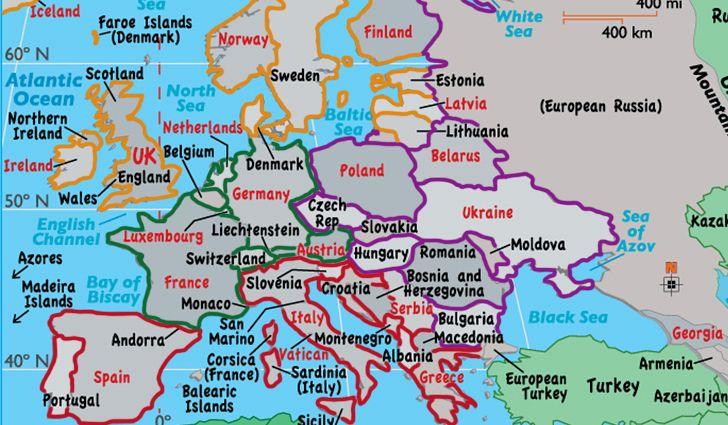 Europos valstybės ir jų sostinės